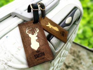 Personalized Buck Doe wooden luggage tag