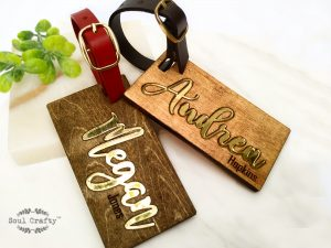 Personalized Name wooden luggage tag