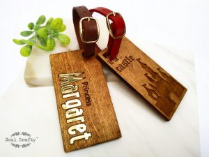 Personalized Prince Princess dream wooden luggage tag