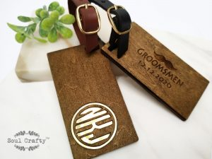 Personalized Monogram wooden luggage tag
