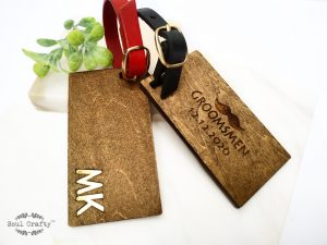 Personalized groomsmen wooden luggage tag