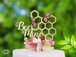 Bee mine wooden cake topper