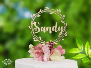 flower bud wreath wooden cake topper