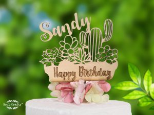 Personalized Succulent wooden cake topper